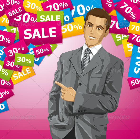 GraphicRiver Business Man with Pointing Finger 5788903