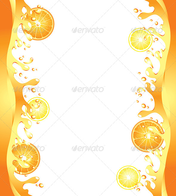 GraphicRiver Juicy Citrus Splashes Frame Background 5789174