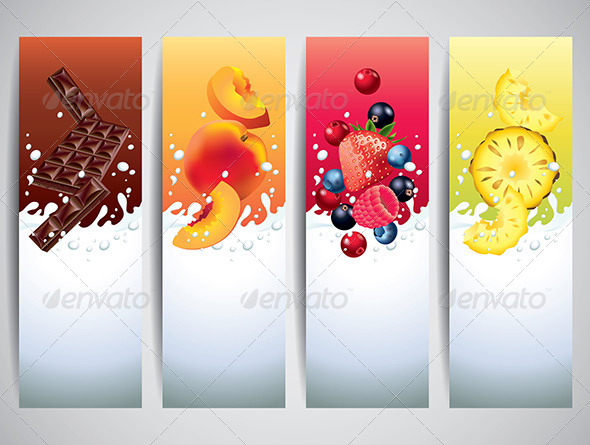 GraphicRiver Fruits in Milk Splashes Vector Banners 5789305