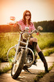 Biker girl and motorcycle - PhotoDune Item for Sale