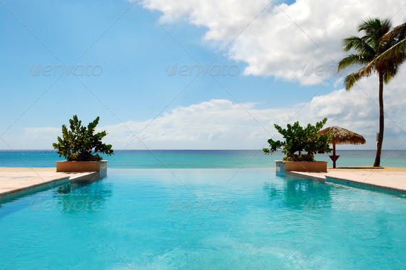 Luxury Swimming Pool on Beach - Stock Photo - Images