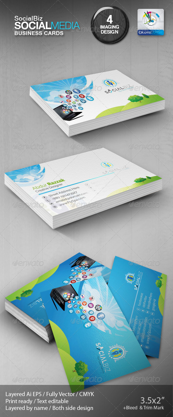 GraphicRiver SocialBiz Social Media Business Card 5790404
