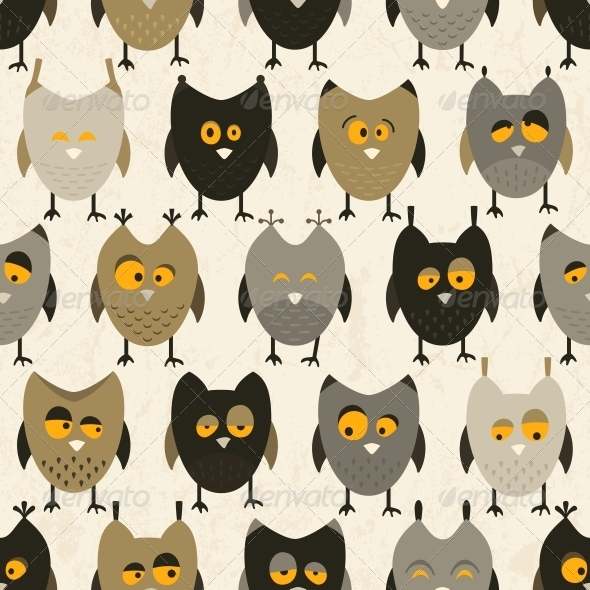 GraphicRiver Owl Seamless Pattern Vector Background 5791477