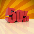 Discount fifty percent on orange background - PhotoDune Item for Sale