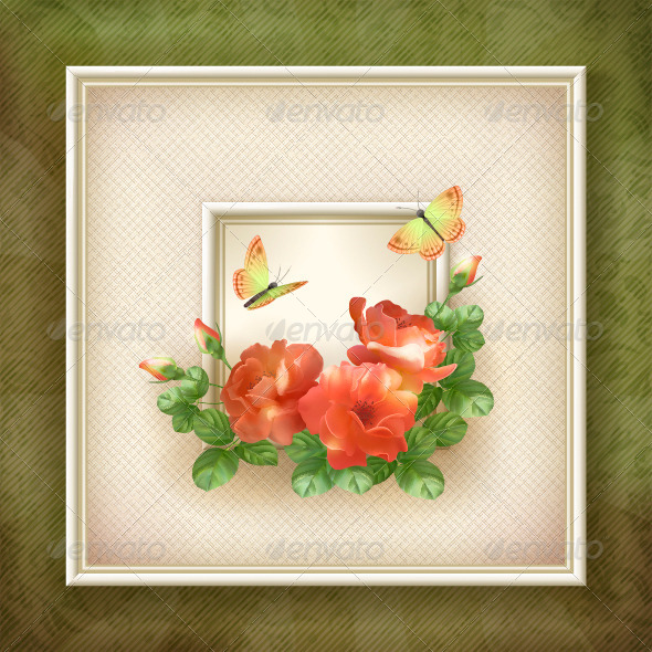 GraphicRiver Border Frame Flower Butterfly Background 5793118