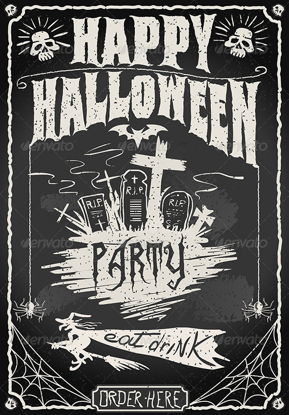 GraphicRiver Vintage Blackboard for Halloween Party 5798115