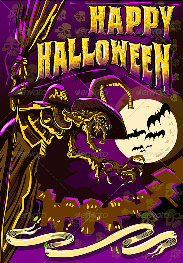 GraphicRiver Poster Invite for Halloween Party with Witch 5798142