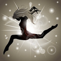 Jumping Girl with Gold reflections - PhotoDune Item for Sale