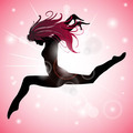 Jumping Girl with Pink reflections - PhotoDune Item for Sale