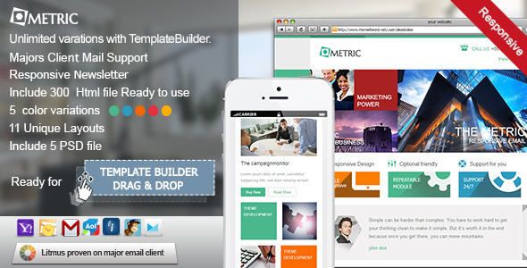 Metric - Responsive E-mail Template - Newsletters Email Templates