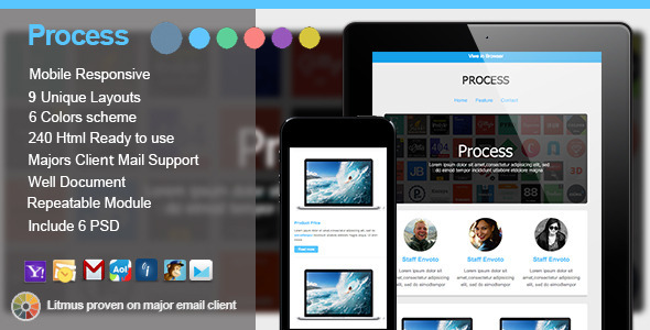 ThemeForest Process Responsive E-mail Templates 5801326
