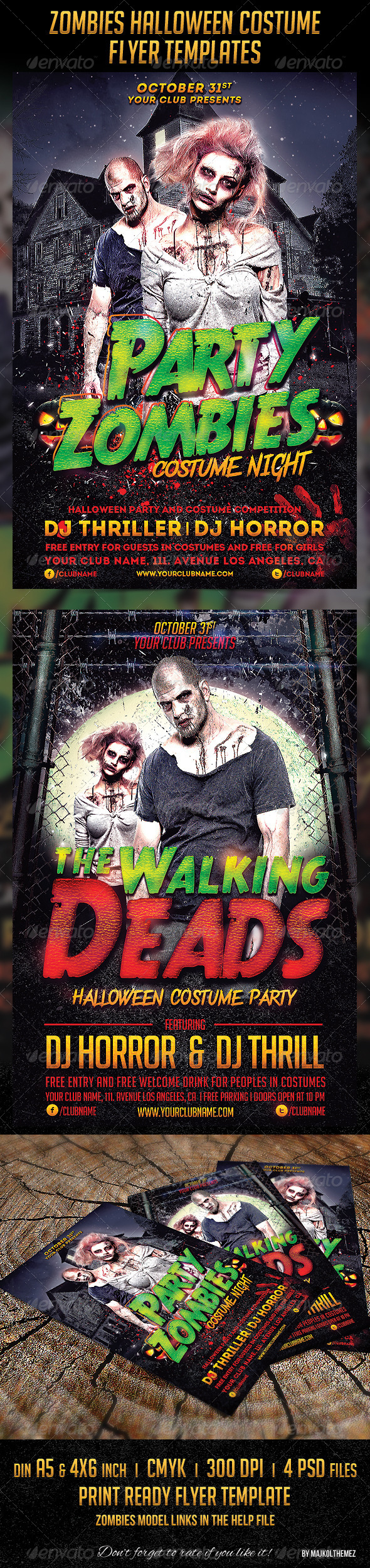 Zombies Halloween Costume Flyers - Clubs & Parties Events