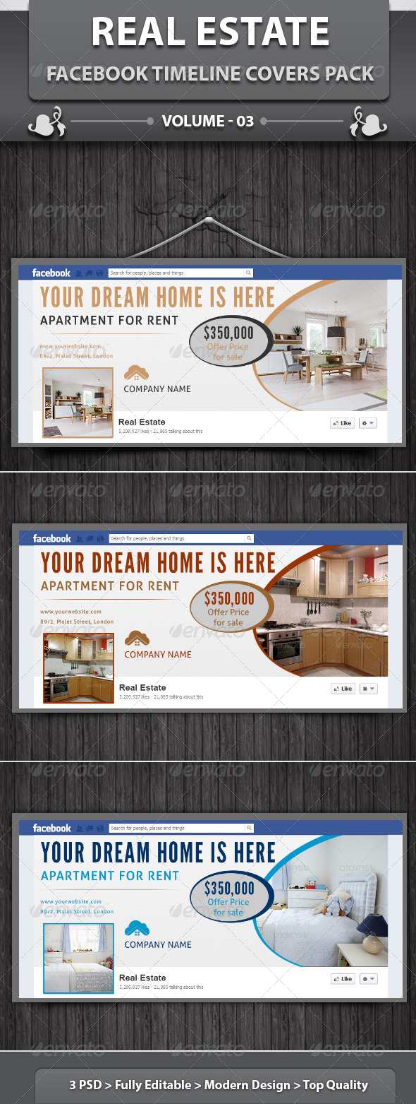 GraphicRiver Real Estate Business FB Timeline Covers Pack v3 5802360