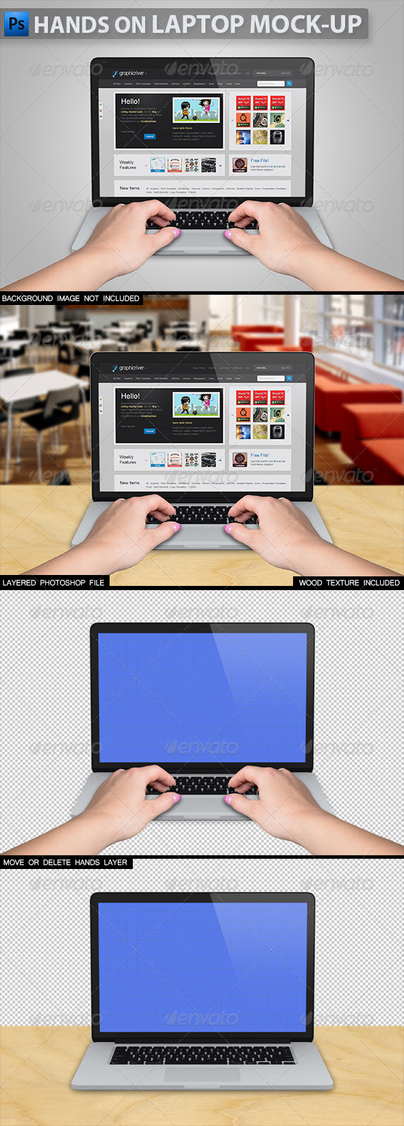 GraphicRiver Hands on Laptop Mock-up 2 5802658