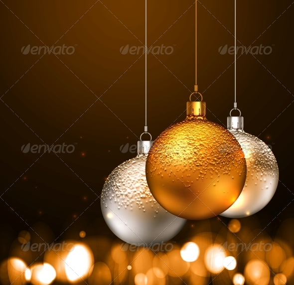 GraphicRiver Christmas Balls on Dark Background 5802679