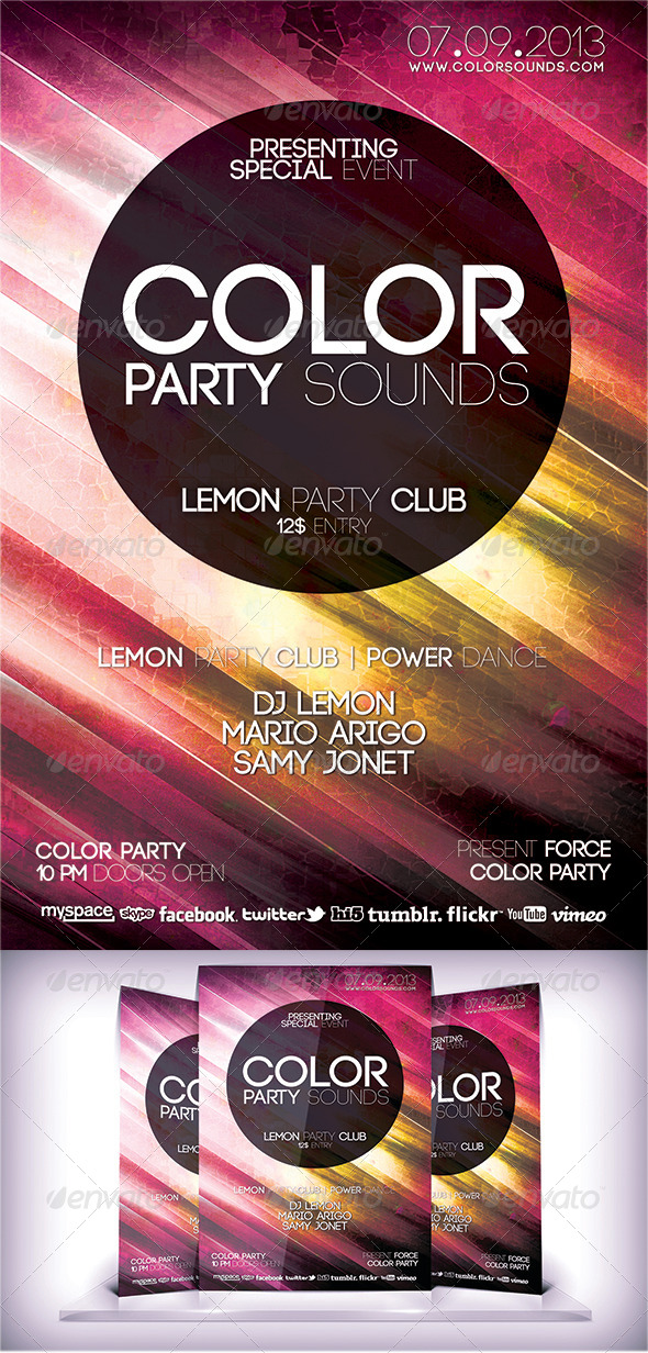 Color Party Sound Flyer - Flyers Print Templates