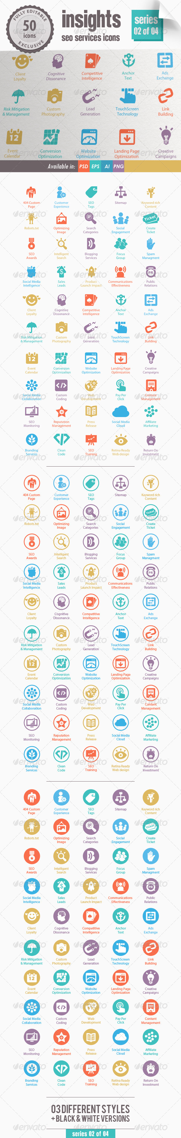 Insights SEO Services Icons - Series 02 of 04 - Web Icons