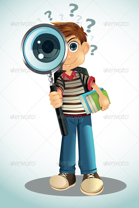 GraphicRiver Student Holding Books and Magnifying Glass 5805847