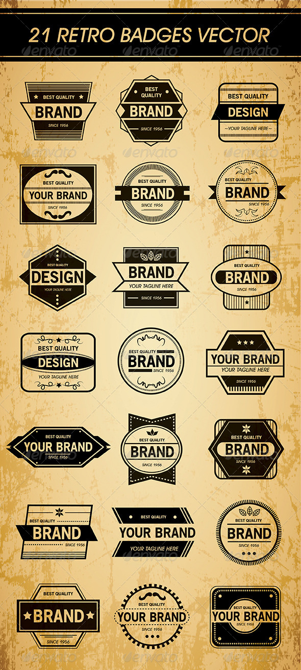 GraphicRiver 21 Retro Badges Vector 5807982