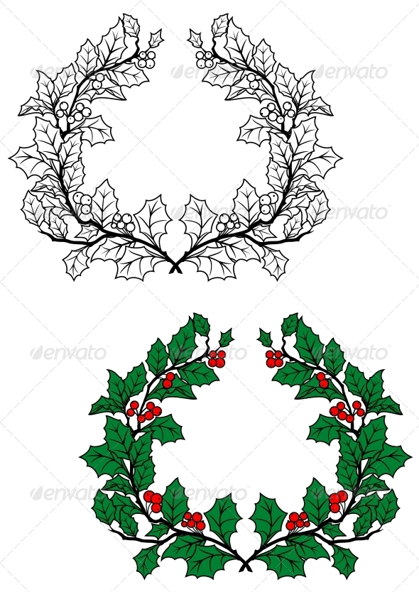 GraphicRiver Christmas Holly Wreath 5808586
