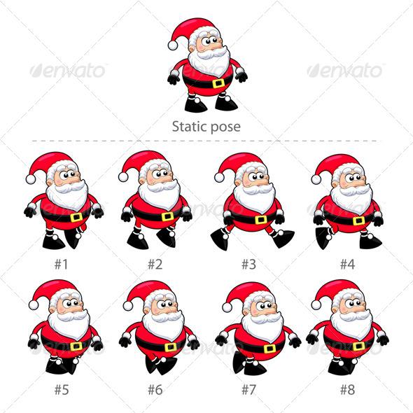 GraphicRiver Santa Claus Walking Frames 5810217