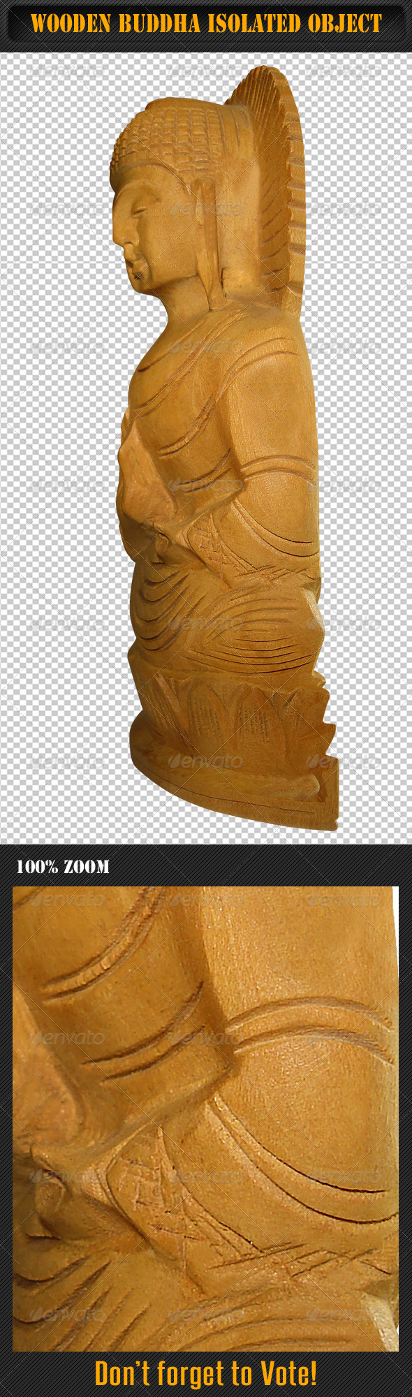 GraphicRiver Wooden Buddha Isolated Object 02 5755245