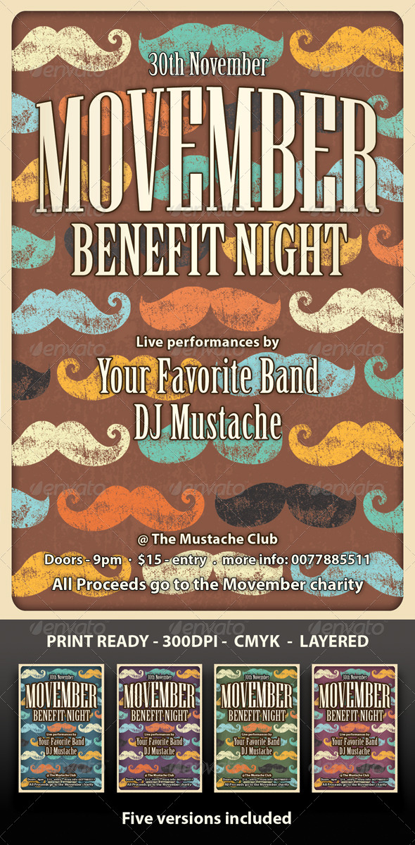 GraphicRiver Movember Flyer retro 5812739