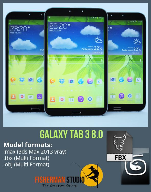 3DOcean Samsung Galaxy Tab 3 8.0 with Render Setup 5815939