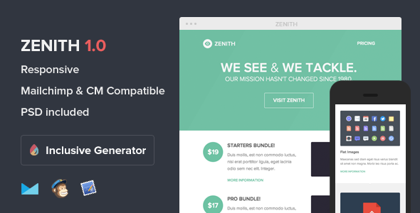 ThemeForest Zenith Responsive Email With Template Builder 5814729