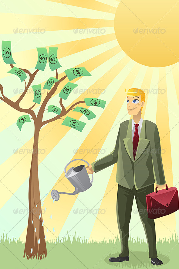 GraphicRiver Businessman Watering Money Tree 5816294