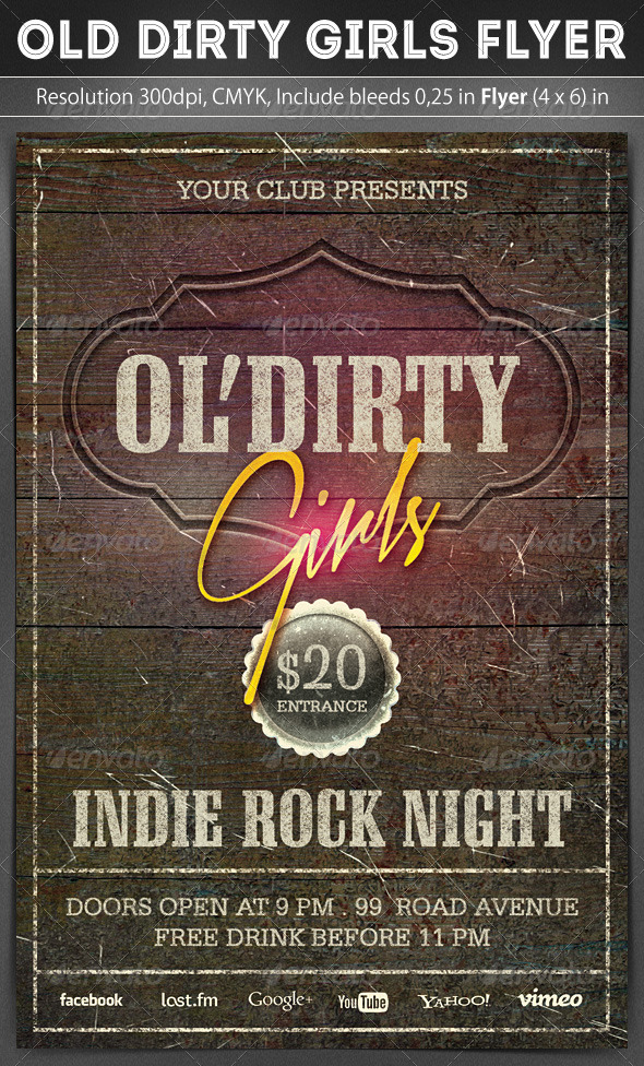Old Dirty Girls Flyer - Concerts Events