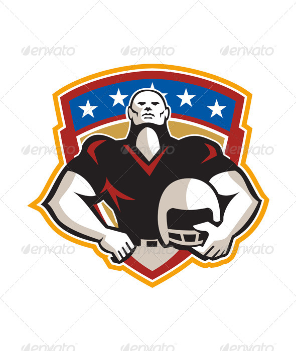 GraphicRiver American Football Tackle Linebacker Helmet Shield 5816582
