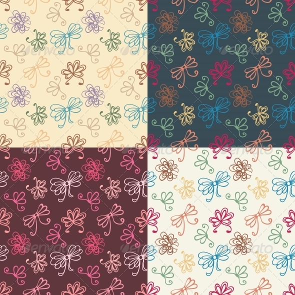 GraphicRiver Seamless Patterns with Ribbon 5816925