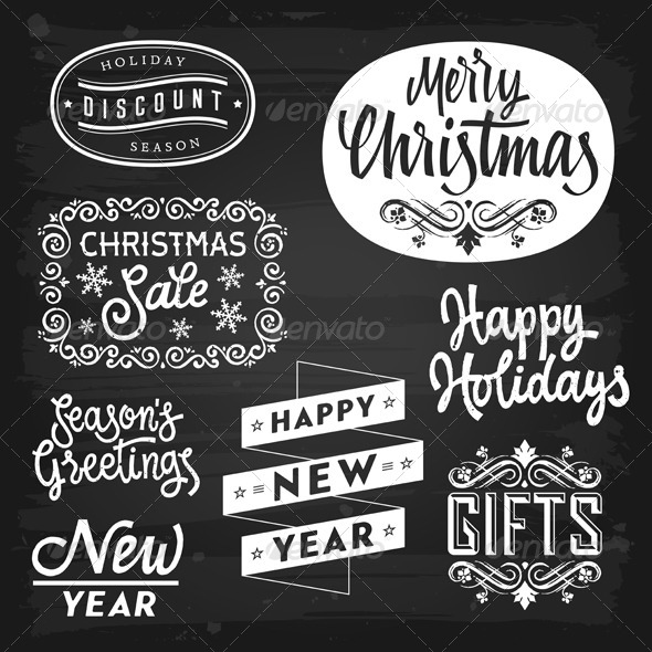 GraphicRiver Christmas and New Year Greetings and Badges 5817168