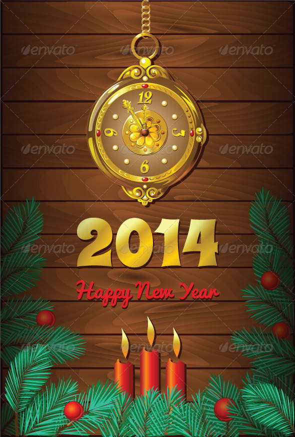 GraphicRiver New Year Background with Retro Clock 5817491