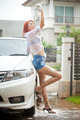 Woman washing a car - PhotoDune Item for Sale