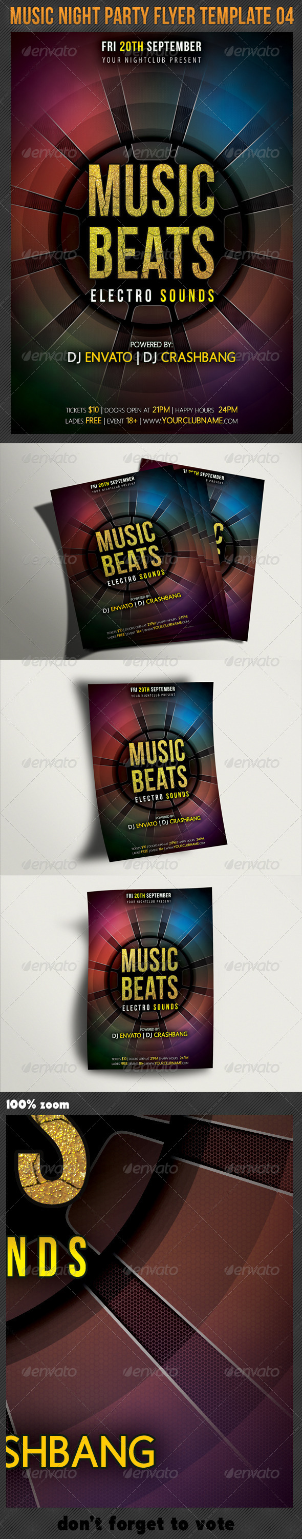 Music Night Party Flyer Template 04 - Clubs & Parties Events