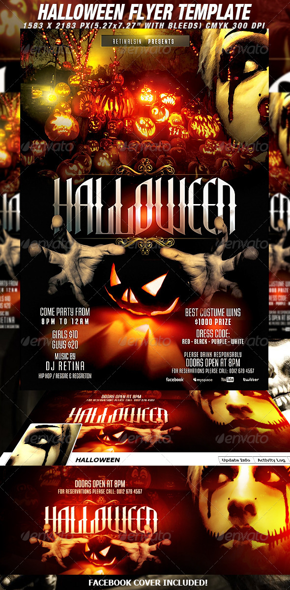 Halloween Flyer Template + Fb Cover - Clubs & Parties Events