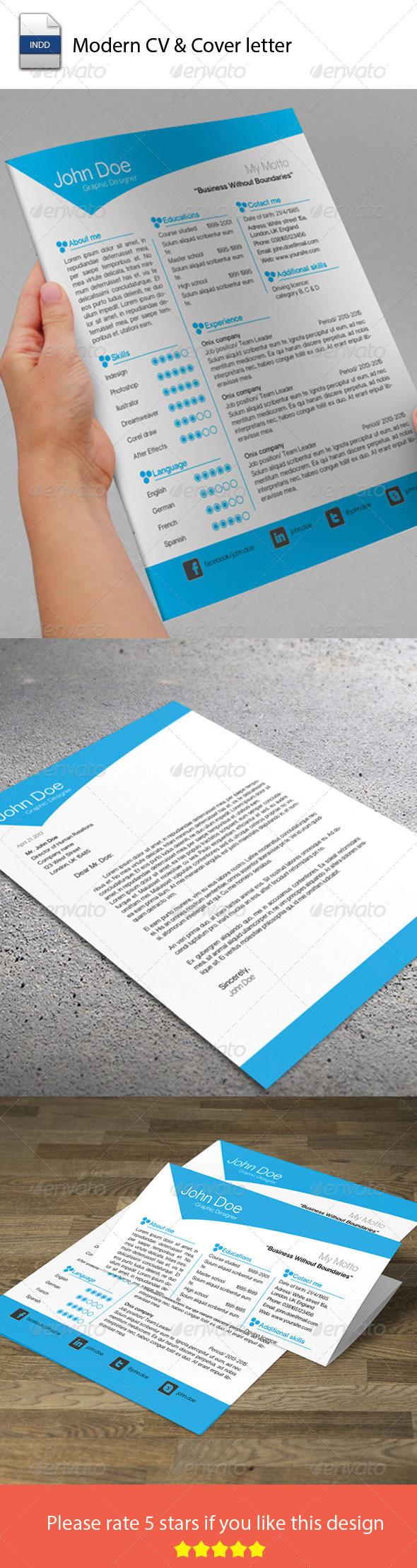 GraphicRiver Modern CV & Cover Letter 5821090
