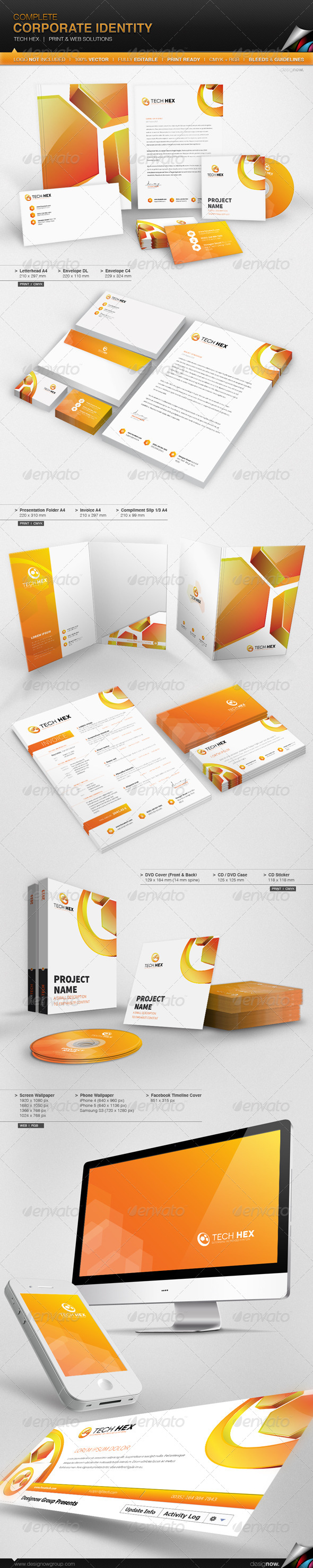 Corporate Identity - Hexa Tech - Stationery Print Templates