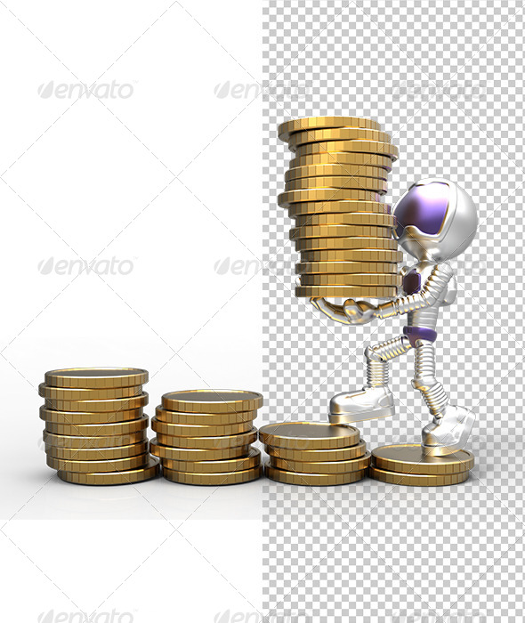 GraphicRiver 3D Gold Astronaut Holding Money Coins & Growth 5823070