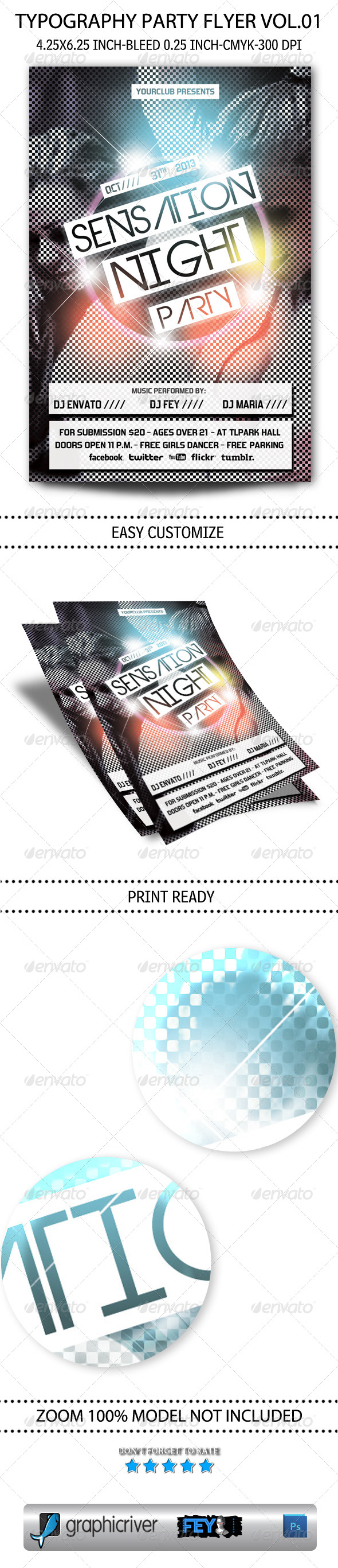 GraphicRiver Typography Party Flyer Vol.01 5759141