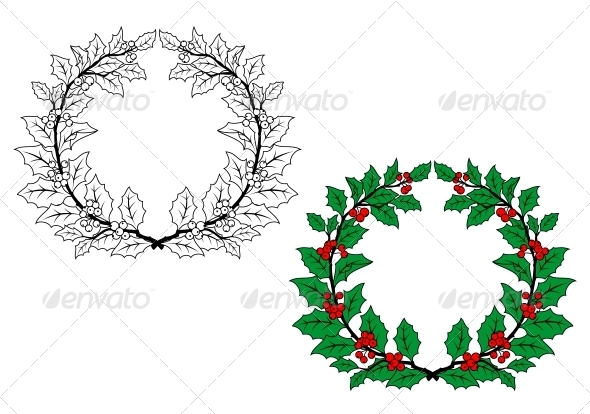 GraphicRiver Holly Christmas Wreath 5823752
