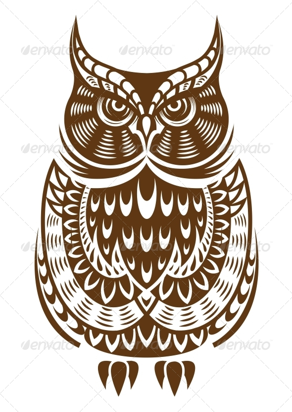 GraphicRiver Brown Owl with Decorative Ornament 5823783