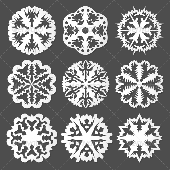 GraphicRiver White Paper Vector Snowflakes 5827318
