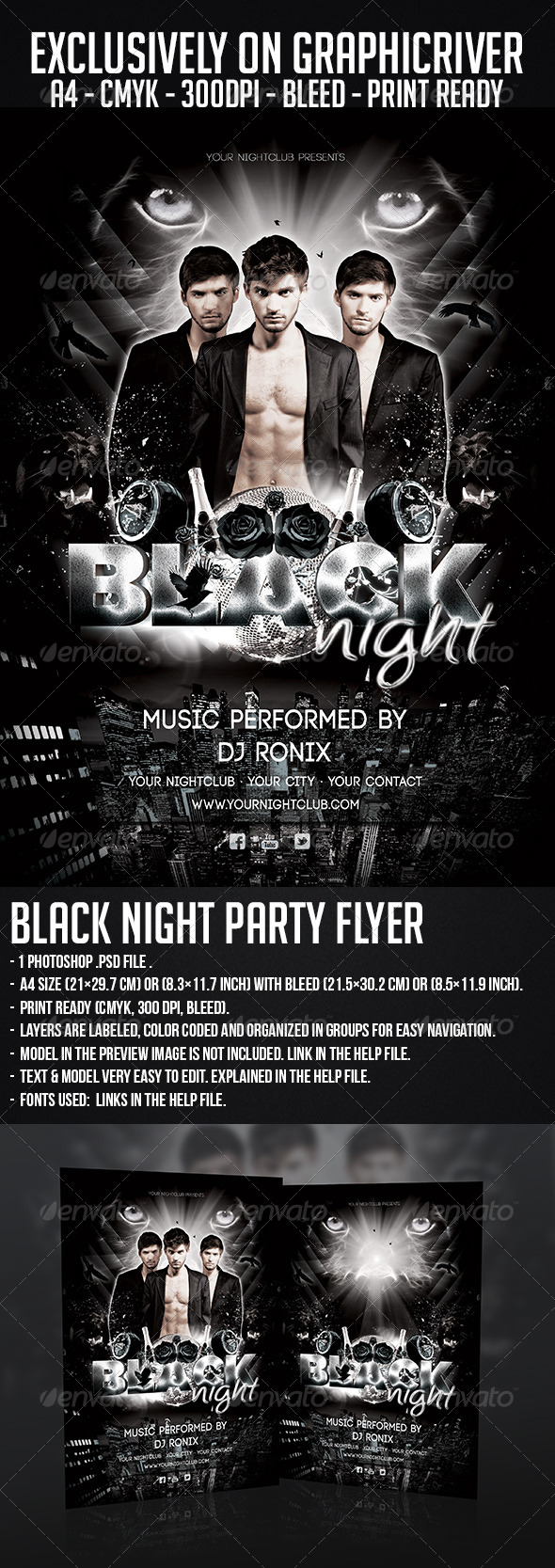 GraphicRiver Black Night Party Flyer 5828936