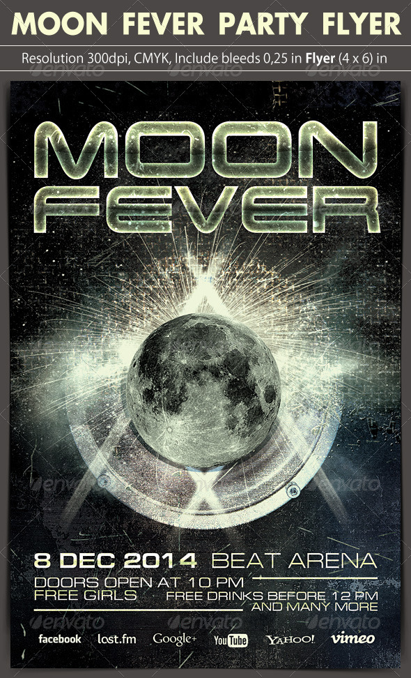 Moon Fever Party Flyer - Clubs & Parties Events