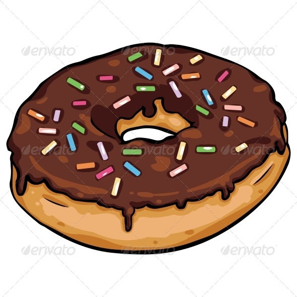 GraphicRiver Vector Cartoon Donut with Chocolate Icing 5829820