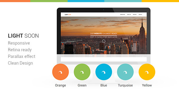 Light Soon Responsive Coming Soon Template - Under Construction Specialty Pages