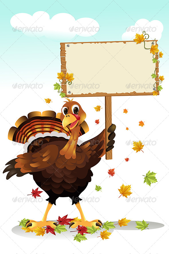 GraphicRiver Turkey Holding a Sign 5834154